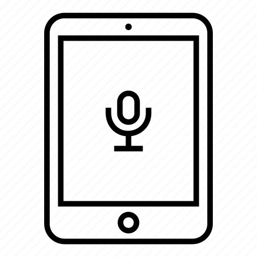 device, microphone, outline, pad, podcast, record, tablet icon