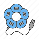 device, driver, flash, flower, hub, multiplug, usb icon