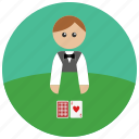 cards, casino, dealer, game icon
