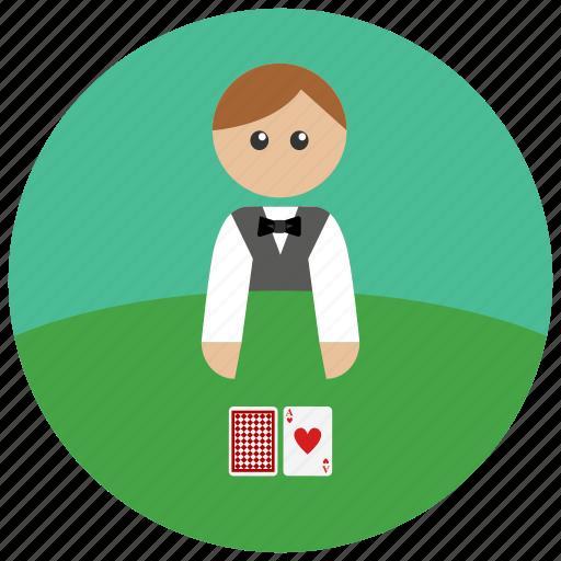 cards, casino, dealer, game icon