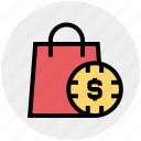 case with dollar sign, dollar bag, dollar case, hang bag, money bag icon