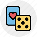 card, casino, dice, gambling, game, heart, poker icon