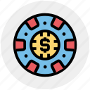 casino chip, casino dollar chip, dollar sign, gambling, game icon