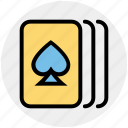 cards, casino, gambler, gambling, game, hearts, three cards icon