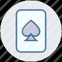 casino card, play card, poker, poker card, poker element, poker spade icon