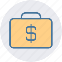 briefcase, case with dollar sign, dollar bag, dollar case, money bag icon