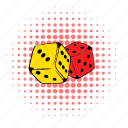 casino, chance, comics, dice, gambling, luck, risk icon