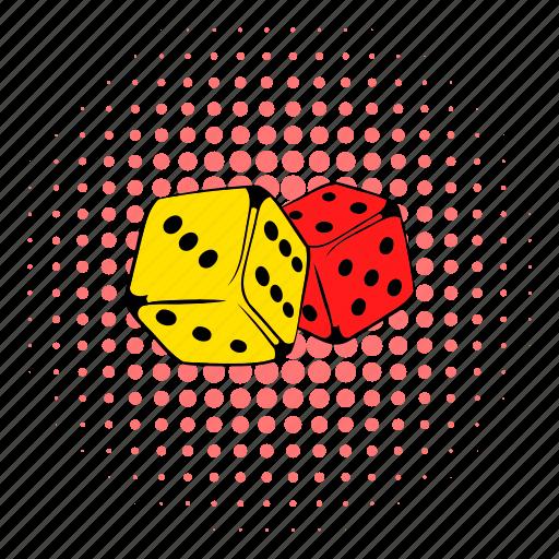 casino, chance, comics, dice, gambling, luck, risk icon