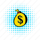 bag, comics, currency, dollar, full, money, sack icon
