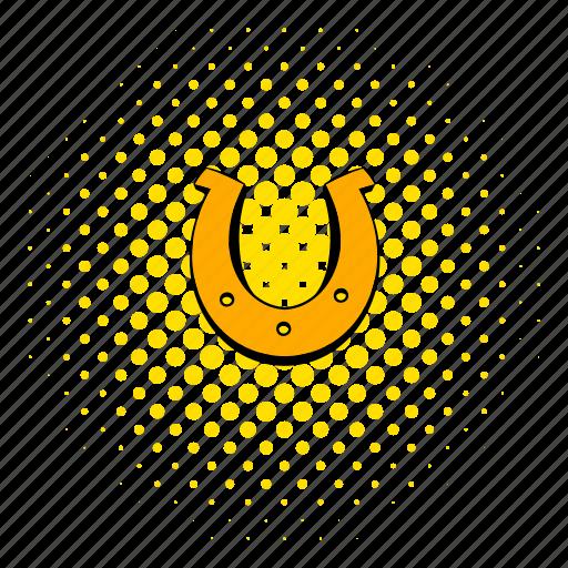 comics, gold, horseshoe, luck, lucky, shoe, talisman icon
