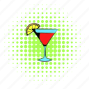 alcohol, cocktail, comics, drink, glass, juice, red icon