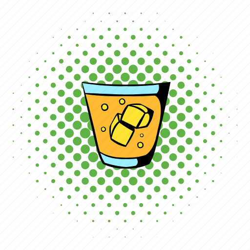 alcohol, comics, glass, ice, scotch, whiskey, whisky icon