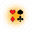 card, casino, comics, game, poker, red, spade icon