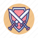 game, role playing game, rpg, shield, swords icon