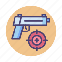 ammo, game, handgun, shooting, shooting game, shooting range icon