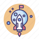 mission, nasa, rocket, space, space mission icon