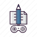 concept, controller, development, game, idea, pencil icon