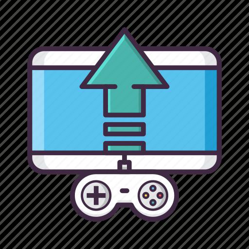 controller, game, publishing, uplink, upload icon