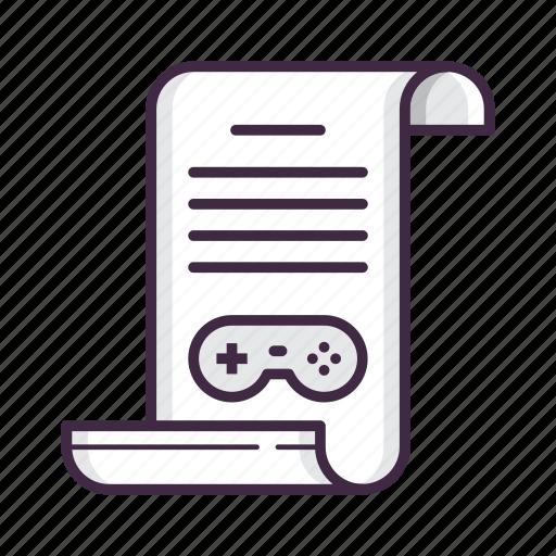 game, manual, scenario, script icon