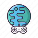controller, earth, game, internet, multiplayer, online icon