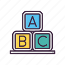 abc, alphabet, block, game, kids icon