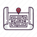 game, location, maze, play, player, puzzle, quest icon