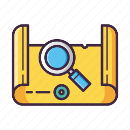explore, explorer, find, location, magnifier, map, quest icon