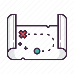 arrow, direction, flag, location, map, navigation, treasure icon