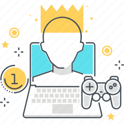 computer, crown, game, game controller, king, profile, win icon