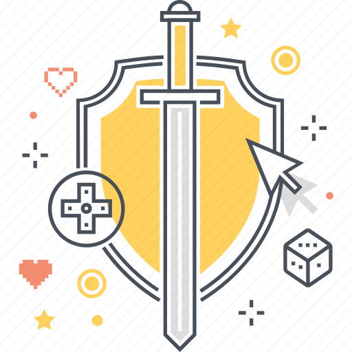 armor, dice, game, heart, life, shield, sword icon