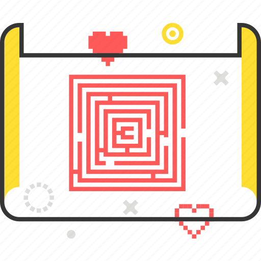development, document, game, level, maze, paper, scroll icon