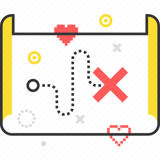cross, map, mission, paper, scroll, treasure, video game icon