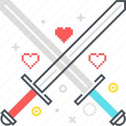 crossing, game, shield, sword, versus, war icon