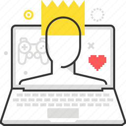 computer, crown, game, leader, list, player, win icon