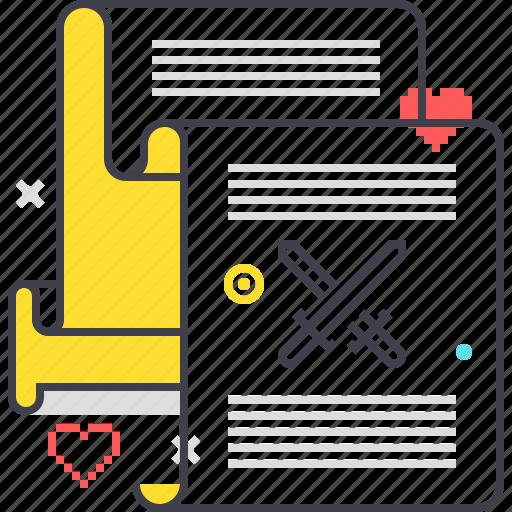 crossing, game, paper, scenario, scroll, swords, video game icon