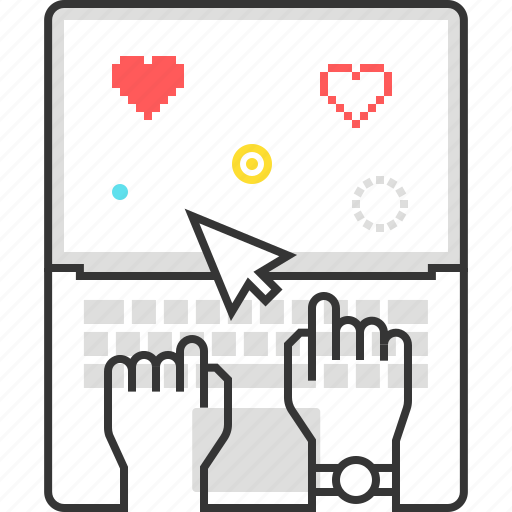 computer, game, hand, keyboard, laptop, mapping, type icon