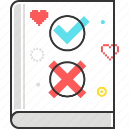 book, check mark, cross, game, rules, video game icon