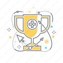 competition, computer, console, cup, game, list, win icon