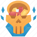 achievement, award, chest, skull, treasure