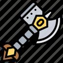 ax, battle, hammer, medieval, weapon