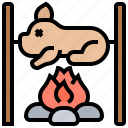bonfire, camping, food, grilling, pig icon