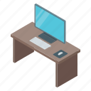 computer screen, computer table, office, office desk, workplace icon