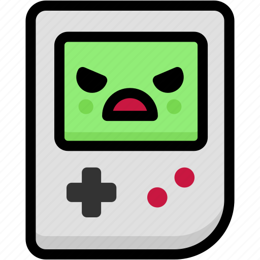 angry, emoji, emotion, expression, face, feeling, gameboy icon