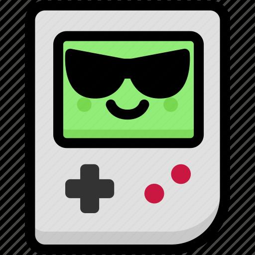 cool, emoji, emotion, expression, face, feeling, gameboy icon