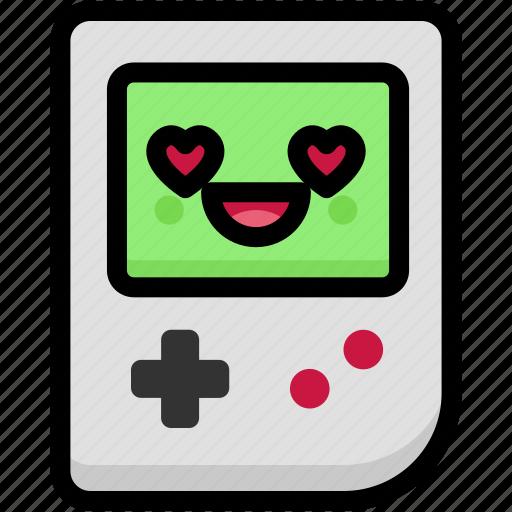 emoji, emotion, expression, face, feeling, gameboy, love icon