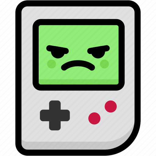 emoji, emotion, expression, face, feeling, gameboy, mad icon