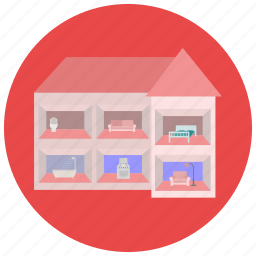 barbie, doll, doll house, games, house, play, toys icon