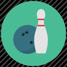 ball, bowl, bowling, bowling pin, games, toys icon