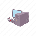 cartoon, computer, network, pc, screen, technology icon