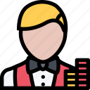 casino, croupier, game, party, video game icon